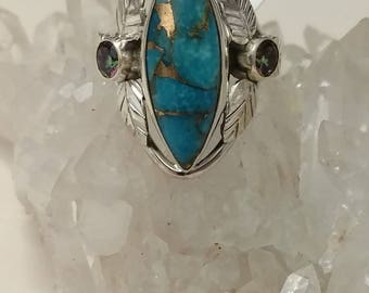 Blue Turquoise and Mystic Topaz Ring Size 6