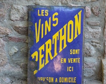 Large Vintage French Enamel Sign, for les Vins Berthon, in Blue and Yellow