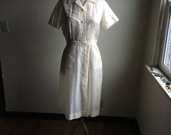 vintage 40s frances gee womens white nylon button up uniform dress service dress