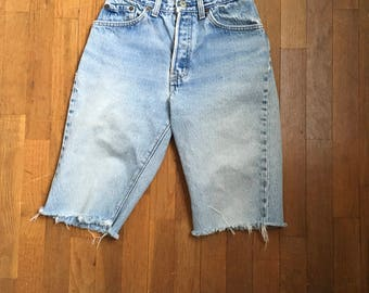 vintage levis 501xx red tab silver tab high waist denim cut off blue jean shorts made in usa w 26