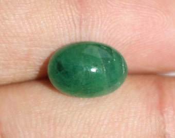 3.90 Cts Natural Green Emerald Oval Shape Cabochon