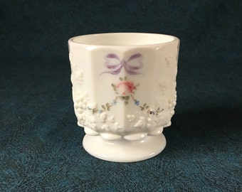 Westmoreland Paneled Grape Hand Painted Milk Glass Open Sugar Bowl
