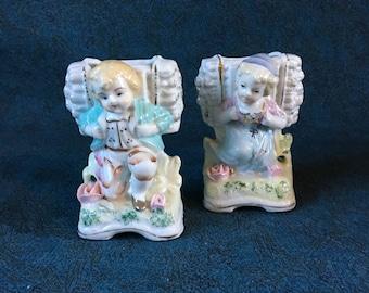 Vintage Dutch Children Figural Vases or Planters, Set of 2