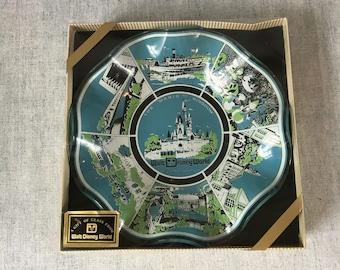 Vintage Walt Disney World Ruffled Glass Souvenir Bowl, The Magic Kingdom Trinket or Change Dish