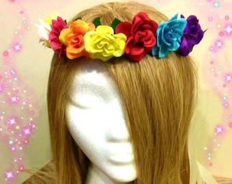 Flower Crown, Rainbow Headband, Rose Headdress, Colorful Headpiece, Renaissance Fair, Fairy Costume, Adult Child, Rave Outfit, Gay Pride
