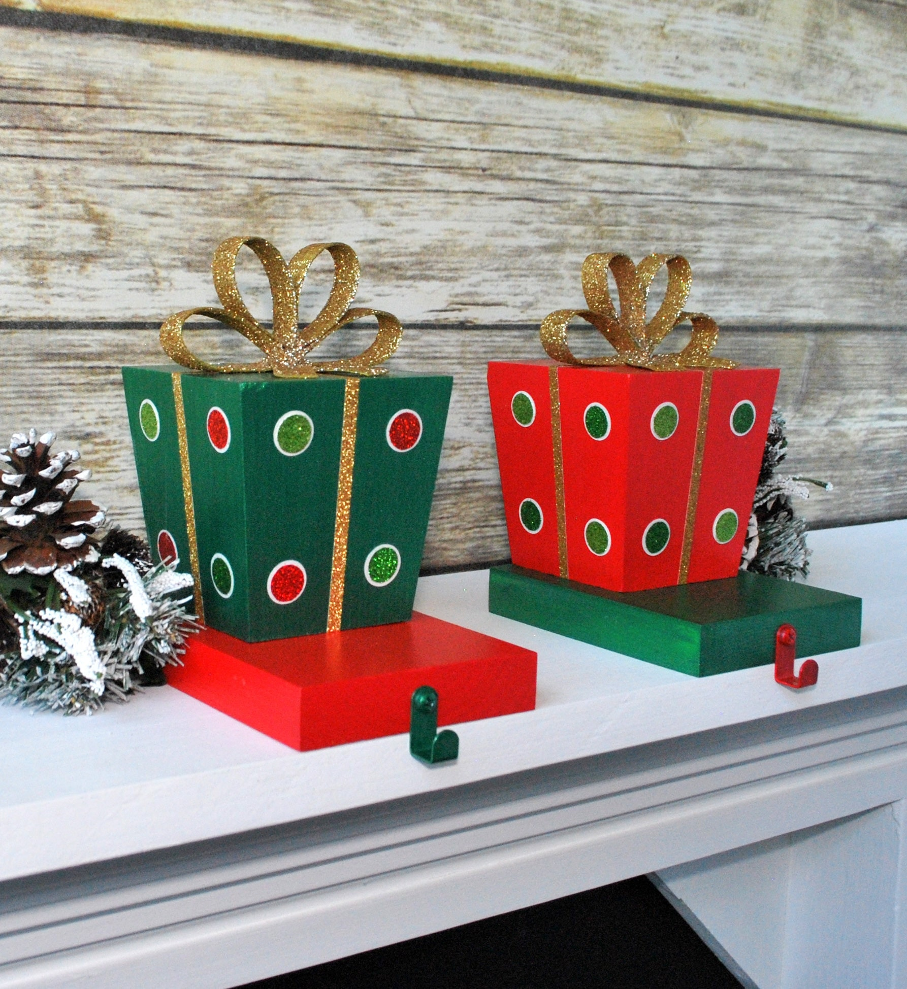 gift box christmas stocking hangers stocking holders