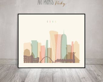Doha print, Poster, Wall art, Qatar cityscape, Doha skyline, City poster, Typography art, Home Decor, Digital Print, ArtPrintsVicky