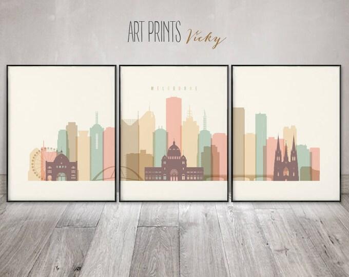 Melbourne set of 3 prints, Melbourne skyline 3 pieces wall art, wall art, large wall art, travel decor, home decor, ArtPrintsVicky