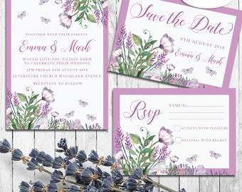 Wedding Invitations set,wedding invitations, Lilac invitations, rsvp cards, Thank you cards,Save the date, flowers, butterflies,lilac