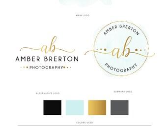 Watercolor logo, Watercolour logo, Photography Logo, Premade logo, Logo design, Logo, Custom logo, Gold logo, Watermark logo