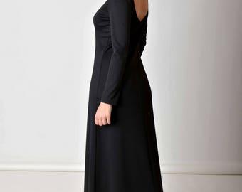 Maxi Dress, Black Dress, Women Dress, Open Back Dress, Gothic Dress, Black Maxi Dress, Minimalist Dress, Trendy Plus Size Clothing