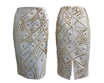 VERSACE Vintage Leather Gold Studded Pencil Skirt sz IT 44 1990s Gianni A-line