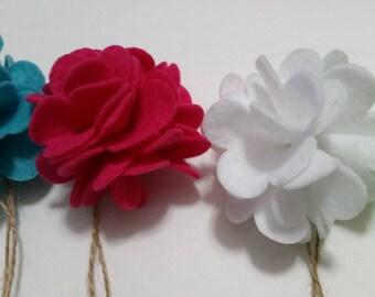 Felt Flowers (Set of 5), Felt Bows, Pompom Felt Flowers, Craft Flowers, Decorative flowers