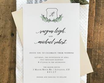 Rustic Wedding Invitation   Wedding Crest and Monogram   Minimalist Wedding Invitation   Printable Wedding Invitation