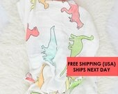 Baby Swaddle Blanket DINO / swaddle blanket / anniversary blanket / age  / growth blanket / newborn/ baby shower gift