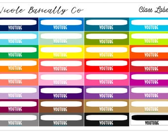 Rainbow YouTube Labels Planner Stickers