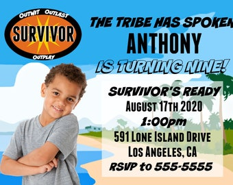 Personalized Survivor Theme Birthday Party Invitation