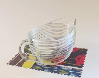 Mid Century Creamer - Vintage 1 Cup Clear Glass Ribbed Creamer - Retro Textured Look with Crisp Design - Also Great for Syrup or Dressings