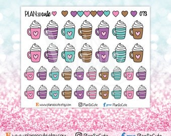 Doodle Hot Chocolate Stickers, Coffee cup stickers, Planner Stickers -073