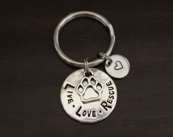 Live Love Rescue Key Ring/ Keychain / Zipper Pull - Dog Lover Gift - Animal Lover Gift- Fur Mom Gift - Shelter Animal Gift - I/B/H