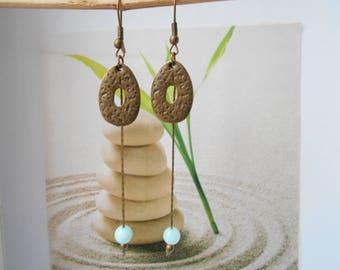 bronze Pearl Earrings turquoise