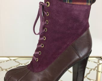 1990s Booties - Purple Suede Brown Leather Platform Lace Up Booties - Plaid Interior - Tommy Hilfiger Size 6.5 US