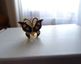 Small black enamelled pin/brooch butterfly