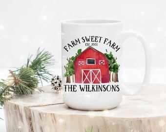 Farm Sweet Farm Mug - Barn Sweet Barn Mug - Farmer Gift - Custom Farmer Gift - Farm Owner Gift - Family Farmer Gift