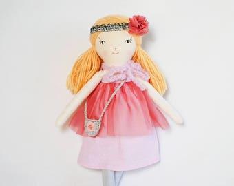 Rag doll, cloth fabric doll, heirloom doll, fabric doll, linen doll, personalized doll, gift for girl, keepsake doll,  nursery doll