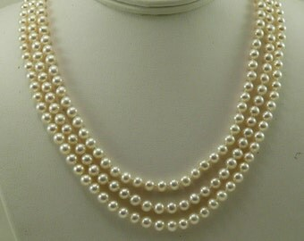 Freshwater White Pearl Triple Strand Necklace with 14k Yellow Gold Clasp
