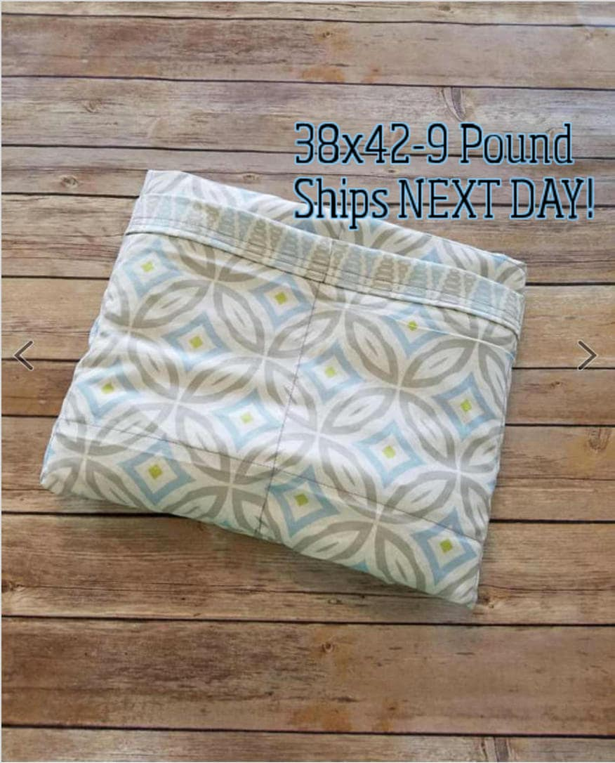 Baby Blue, Gray, 9 Pound, WEIGHTED BLANKET, Ready To Ship ...