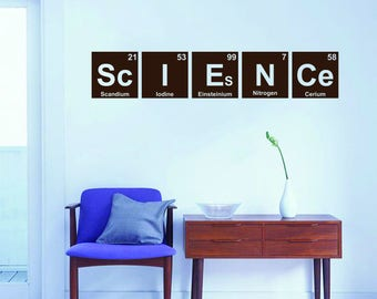 Science letters wall decal in a form of Mendeleev's periodic table | Chemical elements Scandium, Iodine, Einsteinium, Nitrogen, Cerium H093A