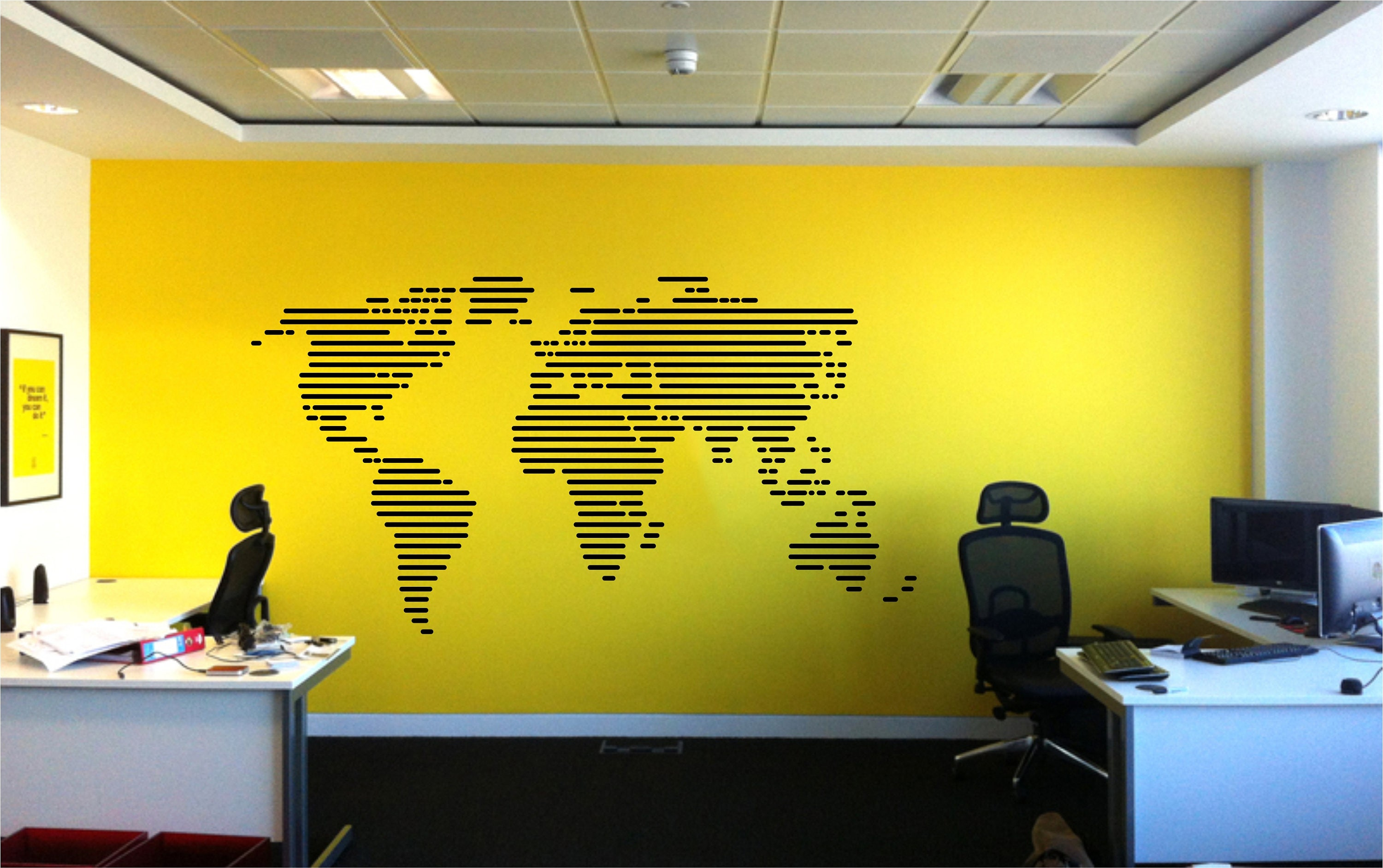 Large World Map Modern Wall Decal in Stripes for Office, Classroom ...