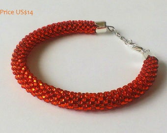 SALE 50 % off Beaded bracelet Gold bracelet Orange Shining Gift for her Gift for women Beaded jewelry Any color Classic Birthday