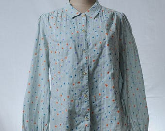 Vintage cotton baby blue and colorful square print blouse
