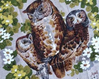 Vintage 1982 Owl Trio Tea Towel // 80s Owl Towel Kitchen