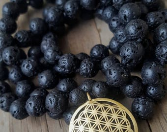 Sacred Geometry Mala Black Lava Mala Beads 108 Knotted Mala Necklace 108, Flower of Life Mala Necklace 108 Mens Mala Beads 108 Mala Beads