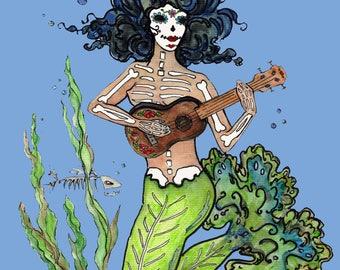 Mermaid lover sugar skulls watercolor ocean ukulele music lover Dia de los muertos Catrina day of the dead sierena Art note cards / prints