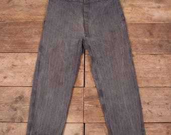 Mens Vintage 1920s Le Mont St Michel French Workwear Hobo Trousers 38 x 30 R6898