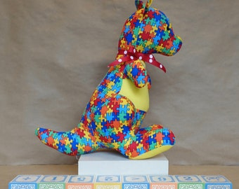 Stuffed Kangaroo Toy in Multi-Color Puzzle Pieces
