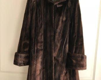 60s Long Brown Genuine Fox Fur Coat, Women's Medium Classic Fur Coat