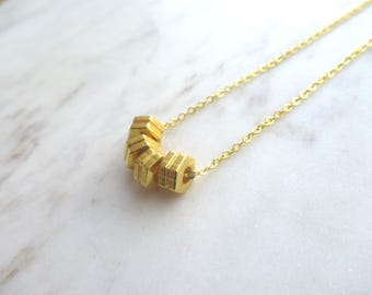 Gold hexagon necklace, geometric necklace, bolt necklace, hex nut necklace, gold plated bolt charms, layering necklace