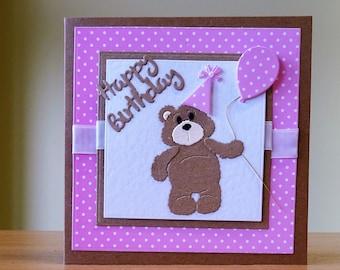 Birthday Card - Cute Teddybear Card - Cute Card For Kids/ Women/ Men /Children /Girls/ Boys/ Brother/ Sister/ Son / Daughter - Handmade Card
