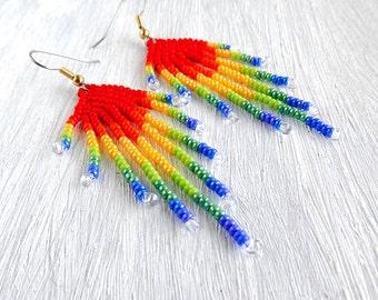 Rainbow earrings Bright earrings Colourful earrings Long earrings Seed Bead earrings peacocks Beaded earrings Multicolor earrings beadwoven