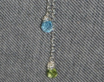 "Aquamarine and Peridot (Rain) Drop 18"" necklace on Sterling Silver fill with Lobster Clasp"