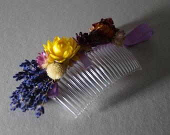 Transparent hair comb Winter Wedding Hair Accessory Wedding Hair Comb dried flower Hair flowers garden wedding bridal headpiece
