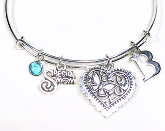 Mom Charm Bracelet, Gift for Step Mom Gift, Silver Bangle Mother's Day Mother in Law Jewelry, Birthday Present Christmas Guardian Parent