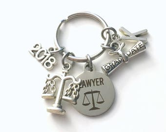 Law School Graduation Present, Lawyer Keychain, Gift for Law Student Graduate 2018, Bar Association Key Chain Grad Keyring Initial 2017 2019