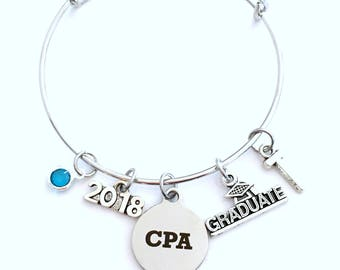 Graduation Gift for CPA, 2018 Charm Bracelet Chartered Accountant Grad present Accounting Women Bangle Jewelry initial letter her lady 2019