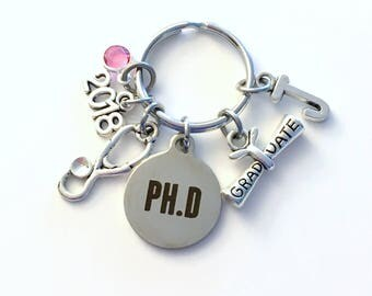 Graduation Gift for PH D Keychain, 2018 Key Chain, PHD Doctor Physician GP nurse Initial Birthstone Grad Present Keyring 2019 women her dr